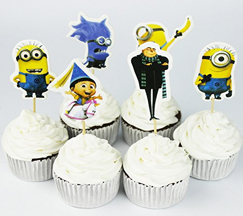 Minions Cupcake Toppers Party Pack for 24 Cupcakes -