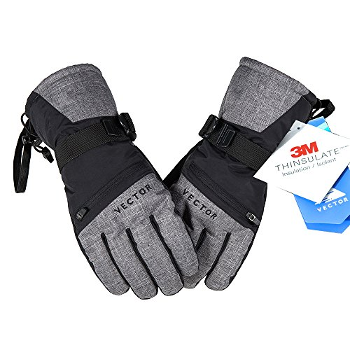 VECTOR Waterproof Windproof Men's Winter Gloves 3M Thinsulate Thermal Warm Snow Gloves Snowboarding Snowmobile Zipper Pocket Touchscreen Ski Gloves Men (Gray, XL)