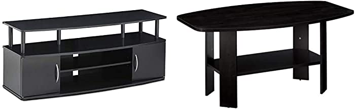 FURINNO Jaya Large Entertainment Stand for TV Up to 50 Inch, Blackwood & Simple Design Coffee Table, Espresso