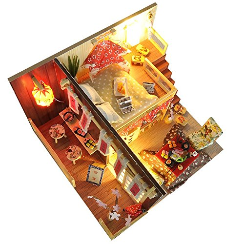 Japanese Sushi Room Wooden DIY Dollhouse Kits Puzzle Toy Christmas Birthday Gifts Miniature Furniture Dolls House (Red)