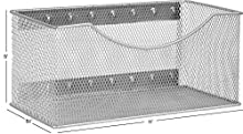 Ybmhome Wire Mesh Magnetic Storage Basket, Trash Caddy, Container, Desk Tray, Office Supply Organizer Silver for Refrigerator/Microwave Oven or Magnetic Surface in Kitchen or Office (1, Large)