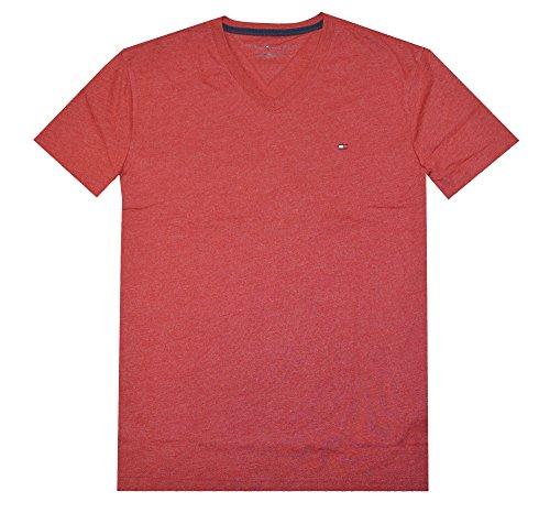 Tommy Hilfiger Men V-neck Classic Fit Logo T-shirt (M, Crimson Glory)