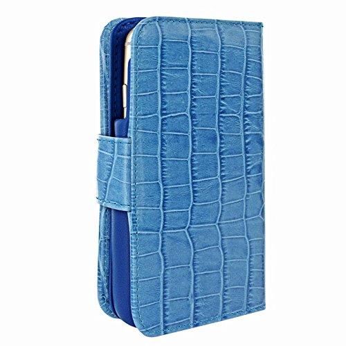 PIELFRAMA 687COB Wallet Case Crocodile Apple iPhone 6 Plus in blau