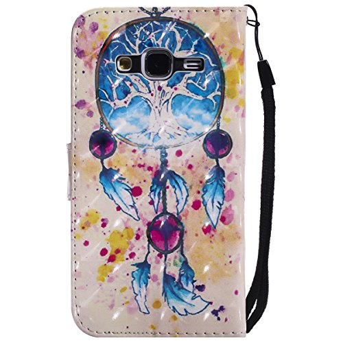 EUWLY Wallet Leather Case Cover for Samsung Galaxy J3 2015/J3 2016,PU Leather Protective Sleeve with Hand Strip for Samsung Galaxy J3 2015/J3 2016,Bookstyle Magnetic Closure Wallet Case with Stand Fun Campanula