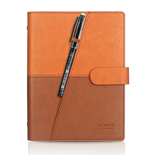 Erasable Planner (Reusable Wirebound Smart Notebook Dry Wet Erasable Writing Notebook Notes APP Storage Pen Included (6.9''X9''- PU Brown))