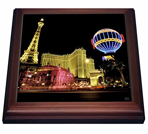 (3dRose Paris Hotel and Casin At Las Vegas Strip United States Trivet with Ceramic Tile, 8 by 8