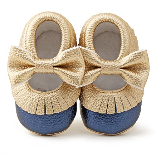 Delebao Infant Toddler Baby Soft Sole Tassel Bowknot Moccasinss Crib Shoes (0-6 Months, Gold & Navy)