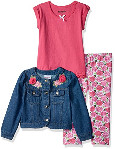 Nannette Girls' Little' 3 Piece Denim Jacket Outfit Set, Pink, 5 (Nannette 3 Piece)