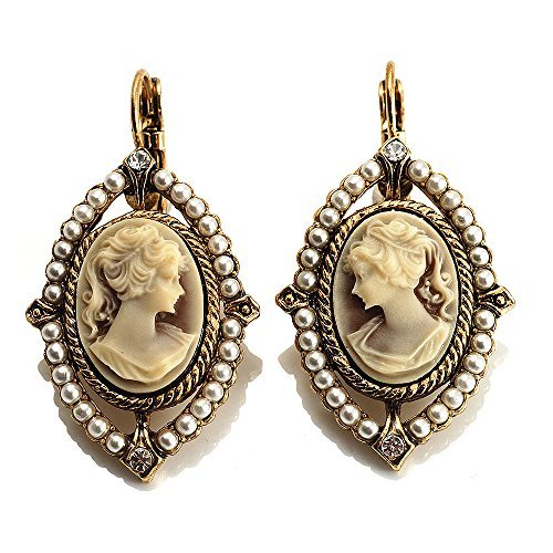 Vintage Cameo Imitation Pearl Drop Earrings (Burn Gold) by Avalaya