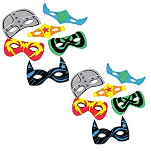 TwiceBooked 24 Assorted Comic Book Super Hero Foam Masks - 2 Packages of 12 Each