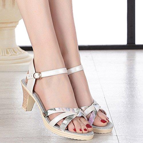 Thick EU36 4 Color UK4 Summer 6 Strap Height Size 5CM Ankle Colors Heel US5 PENGFEI Women's 5 230 Comfortable Beach 5 Heel 4 3 Sandals ZCqUtOxX