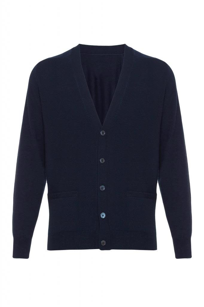 Scottish Wear Men's Pure Cashmere Cardigan Navy XX-Large