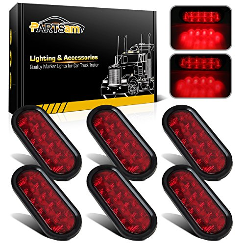 Partsam 6pcs Red Oval 10 Diodes 6 inch Stop Turn Tail Brake Light w/grommet+ pigtail Flush Mount, 6 inch oval led trailer tail lights, 6 oval led brake lights sealed stop turn tail light kit