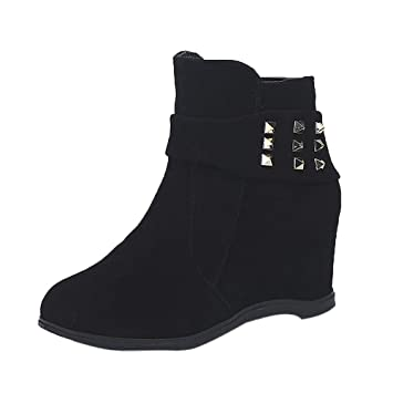 Casual botines mujer elegante otoño,Sonnena ❤ botas de tacón alto de cuña con fondo plano Zapatos de mujer Cuñas aumentadas Botas Casuals de moda: ...