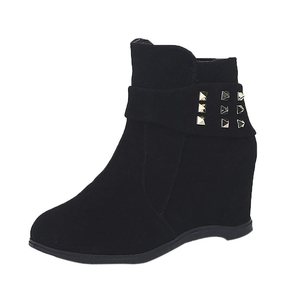 Challyhope Teens Girls Platform Wedge Heel Boots Buckle Rivet Straps Increased Platform Fashion Casual Boots