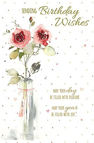 Amazon Happy Birthday Vase Of Roses New Greeting Card Kitchen Dining