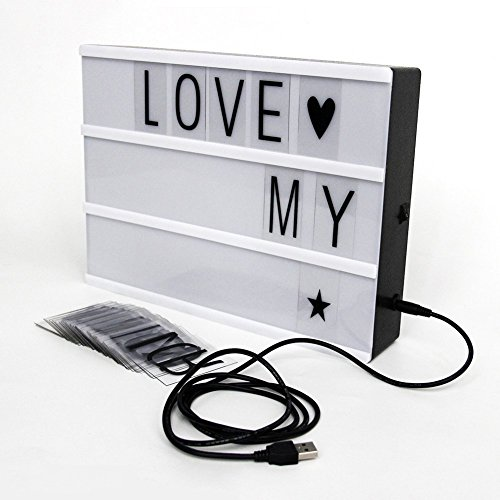 What to Watch & The Equipment You Need for a Fabulous Backyard Movie Night - SMEAMUS DIY Cinema Light Box with 90 Letters and LED Light - Free Combination, A4 Size for Valentine's day, Wedding, Birthday, Guide, Anniversary, Special Event, Inspirational quote, Alert, Remind