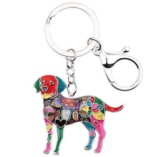 Bonsny Enamel Alloy Heart Labrador Retriever Dog Lover Key For Women Car Purse Charms