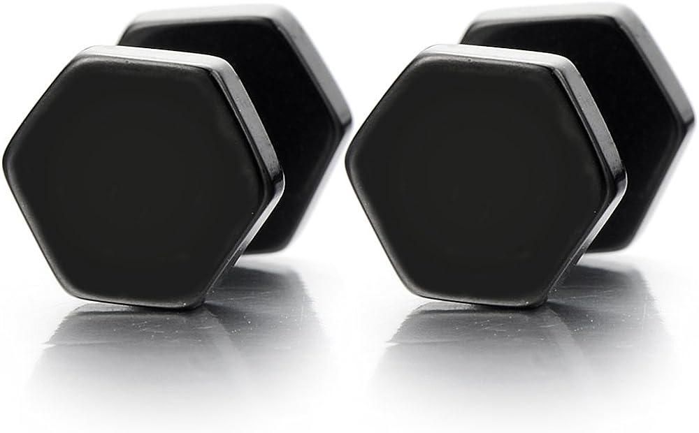 2pcs Hexagon Black Screw Stud Earrings for Men Women, Stainless Steel Cheater Fake Ear Plugs Gauges