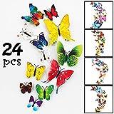 LimBridge 24 Pack Butterfly Refrigerator Magnets, 3D Funny Fridge...