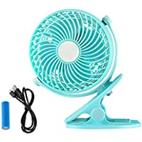 GLAMOURIC Clip on Fan Portable Desk Fan Upgraded Version USB and Rechargeable Battery Operated Small Size Quiet Adjustable Air Circulator for Home Office School Baby Stroller (Green)