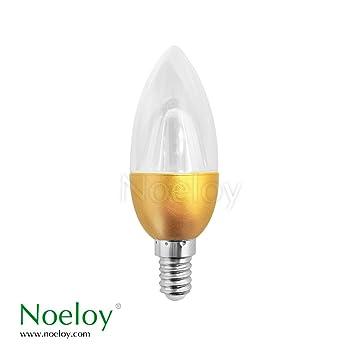 PACK 6 NOELOY BOMBILLA LED VELA E14 TRANSPARENTE 4W 3000K ORO NH60047: Amazon.es: Bricolaje y herramientas
