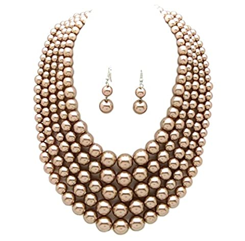 Women's Simulated Faux Pearl Five Multi-Strand Statement Necklace and Earrings Set (Mocha) (Multi Strand Statement Necklace)