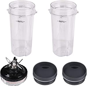 2 Pack 16oz Single Serve Cups with Lid & 6 Fins Blender Blade Assembly, Replacement Parts for Nutri Ninja Compatible with Nutri Ninja BL660 BL770 BL780 BL740 BL810 BL820 BL830 Professional Blender