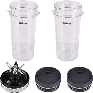 2 Pack 16 oz Single Serve Cup & Blender Blade Assembly Replacement Compatible with Ninja BL770 BL771 BL772 BL740 BL780 BL663 BL660 Blender