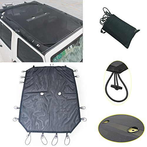 Eclipse Sunshade (AVOMAR Black Eclipse Full Mesh Protection Top Cover Sun Shade With Zip Storage Pockets For 07-16 Jeep Wrangler JK Sahara Sport Rubicon X & Unlimited 4 Door)