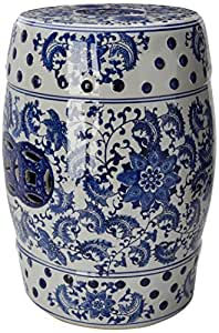 "Oriental Furniture 18"" Floral Blue & White Porcelain Garden Stool"