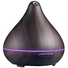 VicTsing 400ml Wood Grain Essential Oil Diffuser, Ultrasonic Aroma Cool Mist Humidifier, 7-Color 15 Night Modes, Waterless Auto-Off for Office Room