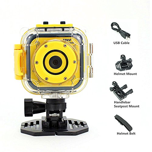 Kids Camera Waterproof Digital Video HD Action Camera 1080P Sports Camera Camcorder DV for Boys Girls Birthday Holiday Present Learn Camera Toy 1.77'' LCD Screen (Yellow) by Jeda