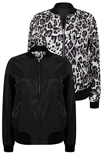 Plus Size Womens Animal Print Reversible Bomber Jacket  Black