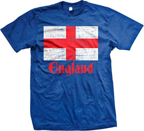 Flag of England, St George's Cross, English Men's T-shirt, NOFO Clothing Co. M Royal (George English Flag)