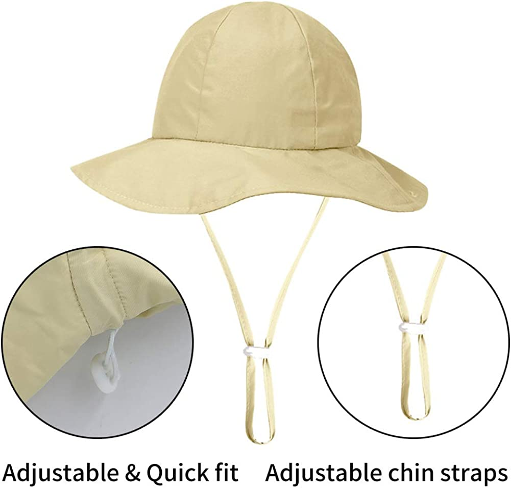 Kids UPF 50 Summer Sun Hat Breathable Girls Boys Sun Protective Wide Brim Bucket Hat Quick Dry Lightweight Beach Cap