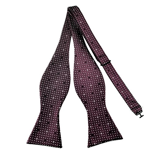 (Pensee Mens Self Bow Tie Dark Red and White Dot Jacquard Woven Silk Bow Ties)
