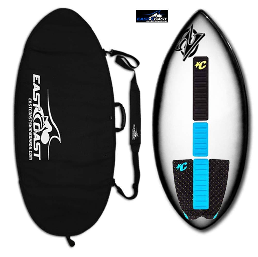 "East Coast Skimboards Deluxe Skimboard Package - Zap Wedge Medium 45"" - Black Halo - Rider Weight Limit 140 lbs - Black Bag (Black Aqua - COL)"