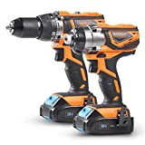 VonHaus Cordless Impact Drill and Impact Driver Set with 2 x 1.5Ah Li-ion 20V MAX Batteries, 1 x Charger, 13pc Bit Set & Power Tool Bag - Both Include a Keyless Chuck & Ergonomic Rubber Grip