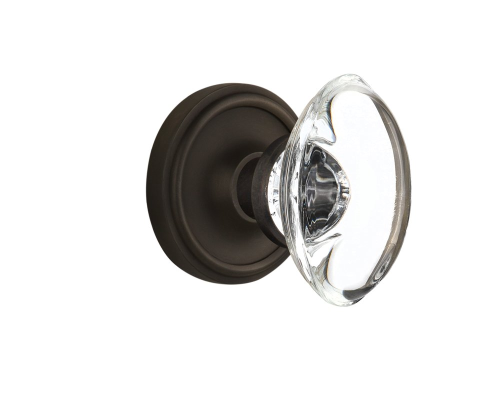 Antique Brass 711416 Single Dummy Nostalgic Warehouse Classic Rosette with Oval Clear Crystal Glass Knob