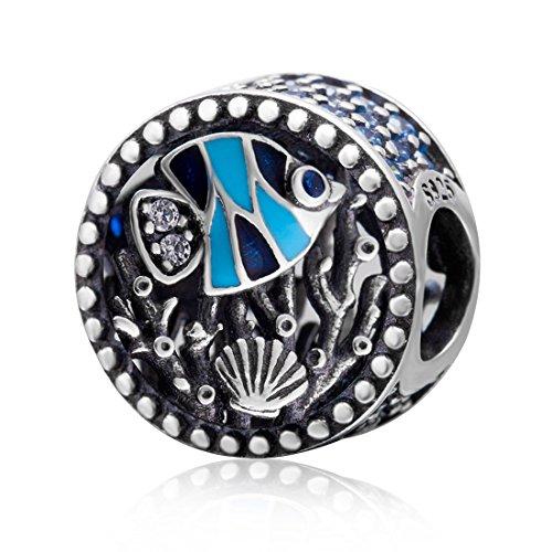 925 Sterling Silver Fish Charm Shell Charm Sea Charm Ocean Charm Pet Charm Animal Charm for Pandora Charms Bracelet (Sterling Silver Natural Shell)