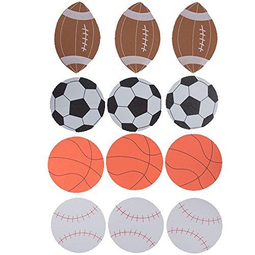 Set of 12 Foam Football, Baseball, Basketball, Soccer Ball Cutouts (Baseball Cutout)