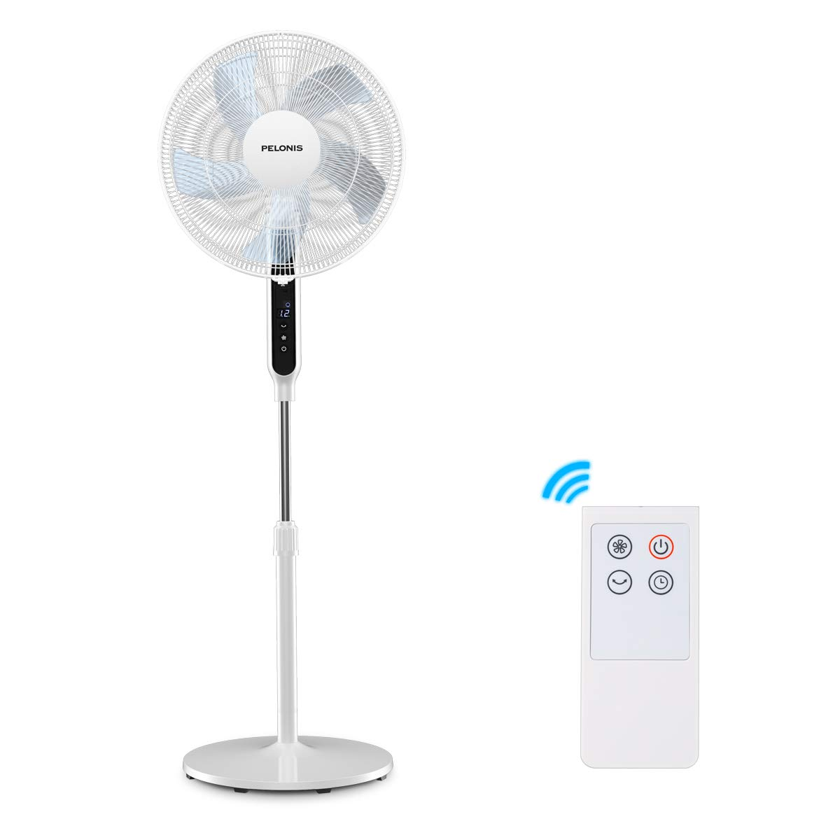 PELONIS DC Motor Ultra Quiet Pedestal Sleeping &Baby, High Energy Efficiency Standing Fan Speed, 12-Hour Timer, Remote Control, and Adjustable Heights, FS40-19PRD, White, 16 Inch, Black&White