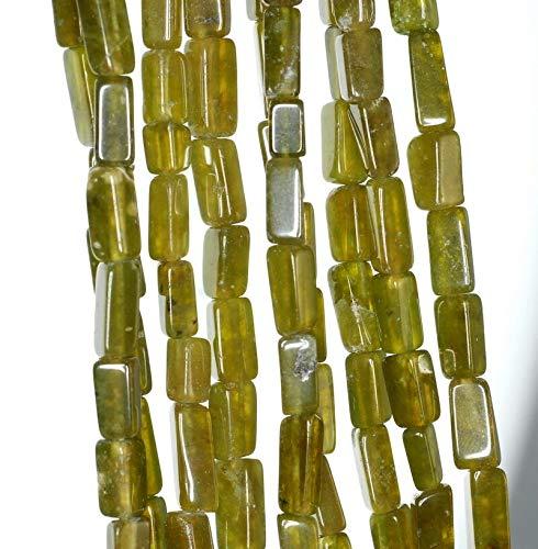 7X4-11X5MM Lemon Jade Gemstone Green Yellow Rectangle Tube Loose Beads 14-15