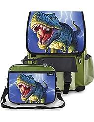 Kidaroo Lightning Rex Dinosaur School Backpack & Lunchbox for Boys, Girls, Kids