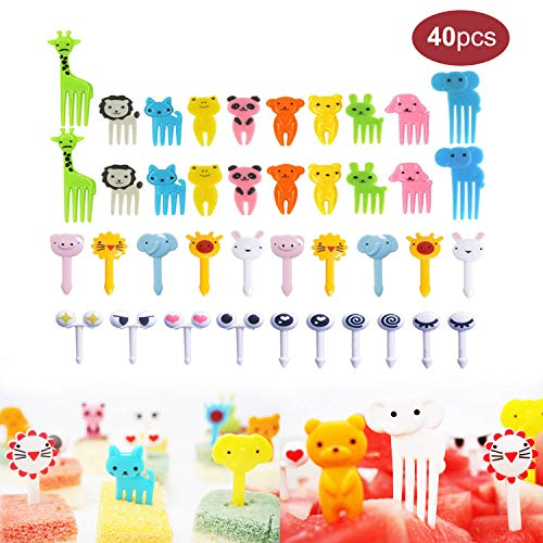 40PCS Animal Fruit Food Picks, Bento Box Picks, Mini Cartoon Animal Food Toothpicks, Lunch Bento Forks Picks for Kids