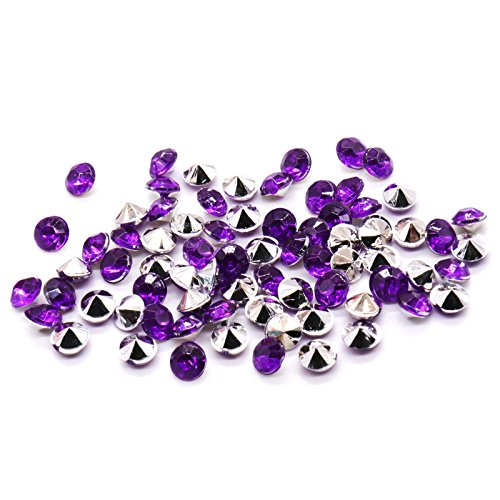 (BIT.FLY 4.2mm 10000pcs Acrylic Crystal Diamond Vase Fillers for Table Scatter Wedding Event Party Decoration, Arts & Crafts DIY Ice Rock Treasure Gems - Purple & Silver)