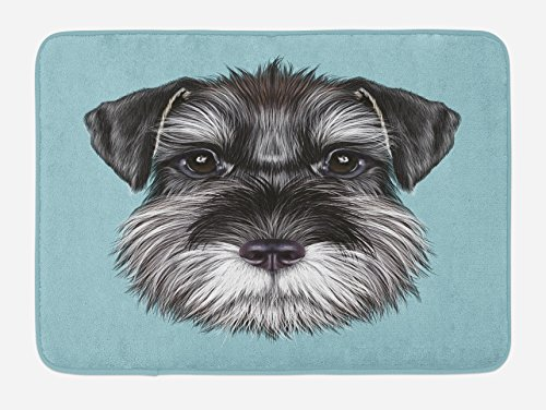 Lunarable Animal Bath Mat, Illustration of a Cute Baby Schnauzer on Blue Background Puppy Portrait, Plush Bathroom Decor Mat with Non Slip Backing, 29.5 W X 17.5 W Inches, Pale Blue Black White by Lunarable