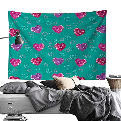 Gemstone Color Push Pins - Homrkey Wall Tapestries Teal Decor Crystal Hearts Gemstone Figures Love Valentines Day Celebrating Romantic Print Tapestry for Room W90 x L59 Red Fuchsia Teal