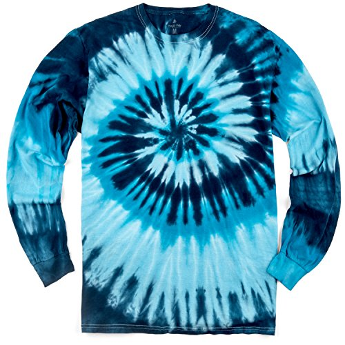 Magic River Long Sleeve Handcrafted Tie Dye T Shirts - Blue Ocean - Adult Medium